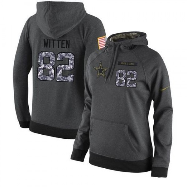 Women's NFL Dallas Cowboys #82 Jason Witten Stitched Black Anthracite Salute to Service Player Hoodie Jersey