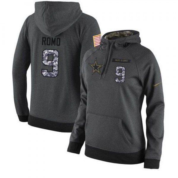 Women's NFL Dallas Cowboys #9 Tony Romo Stitched Black Anthracite Salute to Service Player Hoodie Jersey