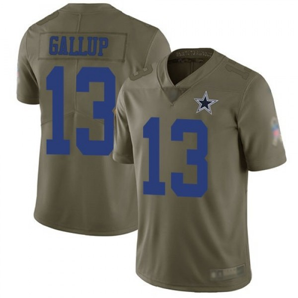 Nike Cowboys #13 Michael Gallup Olive Men's Stitched NFL Limited 2017 Salute To Service Jersey
