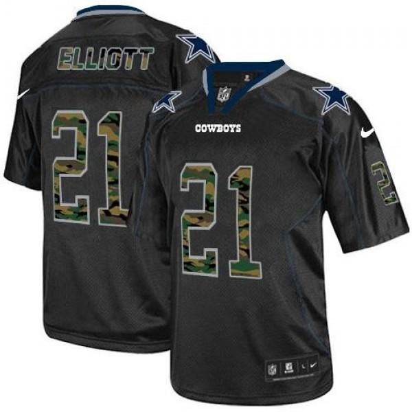 Nike Cowboys #21 Ezekiel Elliott Black Men's Stitched NFL Elite Camo Fashion Jersey
