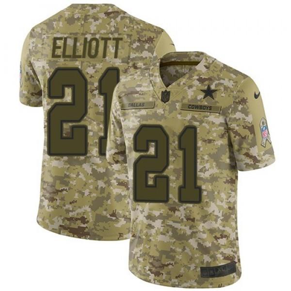 Nike Cowboys #21 Ezekiel Elliott Camo Men's Stitched NFL Limited 2018 Salute To Service Jersey