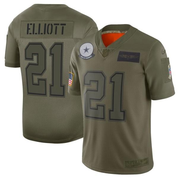 Nike Cowboys #21 Ezekiel Elliott Camo Men's Stitched NFL Limited 2019 Salute To Service Jersey