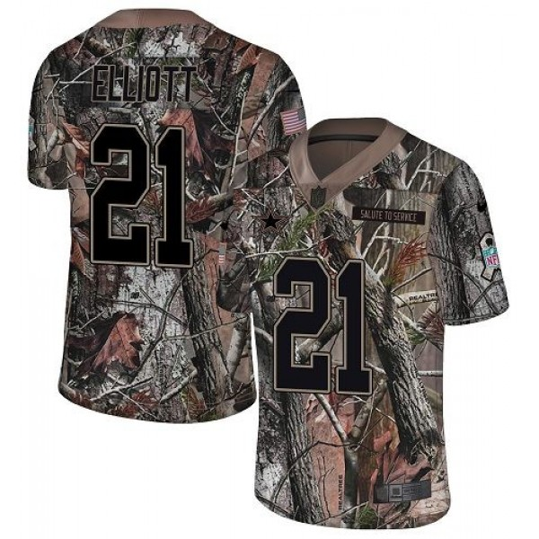 Nike Cowboys #21 Ezekiel Elliott Camo Men's Stitched NFL Limited Rush Realtree Jersey