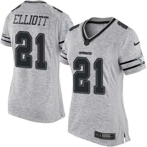 Women's Cowboys #21 Ezekiel Elliott Gray Stitched NFL Limited Gridiron Gray II Jersey
