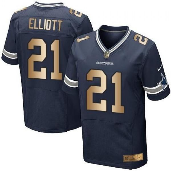 Nike Cowboys #21 Ezekiel Elliott Navy Blue Team Color Men's Stitched NFL Elite Gold Jersey