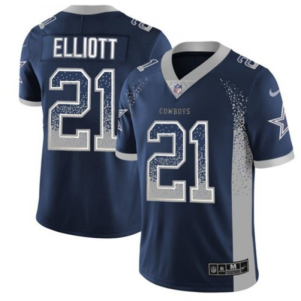 Nike Cowboys #21 Ezekiel Elliott Navy Blue Team Color Men's Stitched NFL Limited Rush Drift Fashion Jersey