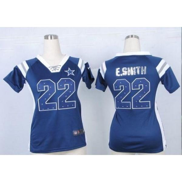 Women's Cowboys #22 Emmitt Smith Navy Blue Team Color Stitched NFL Elite Draft Him Shimmer Jersey