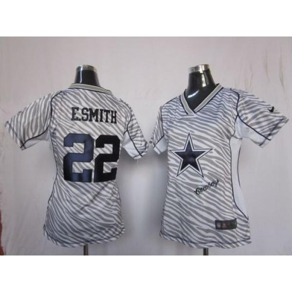 Women's Cowboys #22 Emmitt Smith Zebra Stitched NFL Elite Jersey