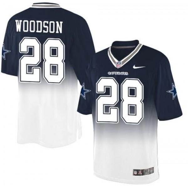 Nike Cowboys #28 Darren Woodson Navy Blue/White Men's Stitched NFL Elite Fadeaway Fashion Jersey