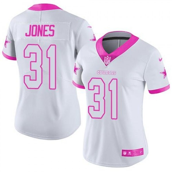 Women's Cowboys #31 Byron Jones White Pink Stitched NFL Limited Rush Jersey
