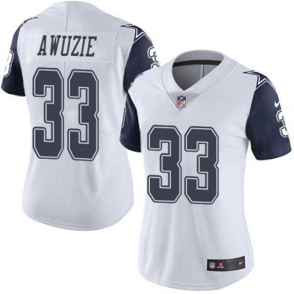 Women's Cowboys #33 Chidobe Awuzie White Stitched NFL Limited Rush Jersey