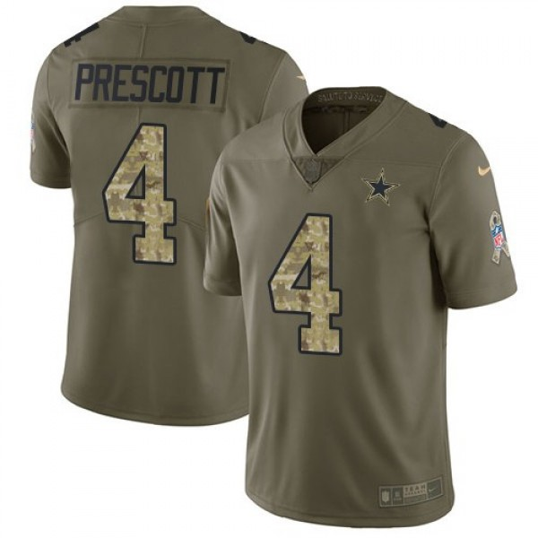 Nike Cowboys #4 Dak Prescott Olive/Camo Men's Stitched NFL Limited 2017 Salute To Service Jersey
