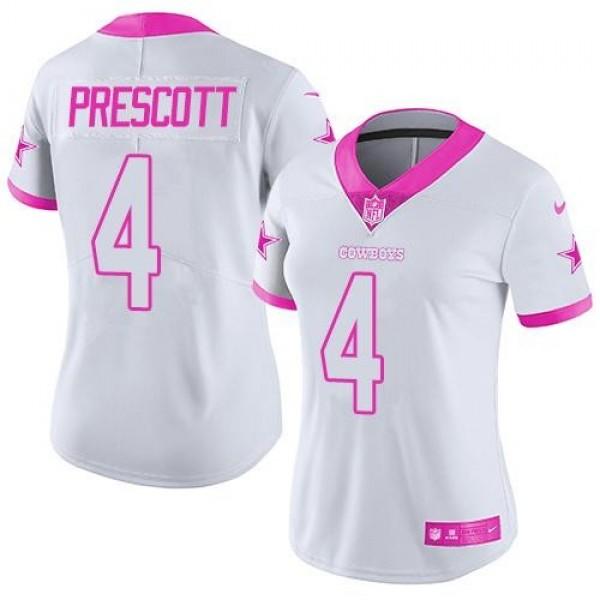Women's Cowboys #4 Dak Prescott White Pink Stitched NFL Limited Rush Jersey