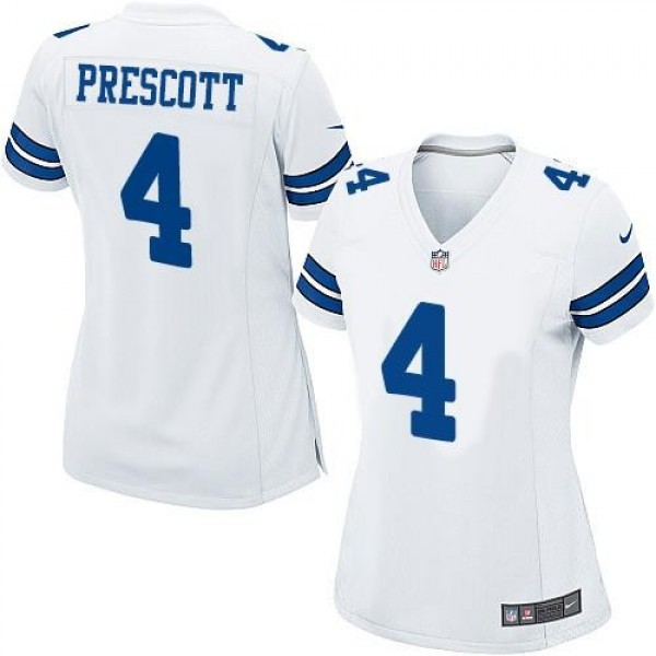 Women's Cowboys #4 Dak Prescott White Stitched NFL Elite Jersey
