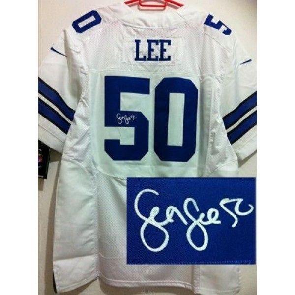 Nike Cowboys #50 Sean Lee White Men's Stitched NFL Elite Autographed Jersey