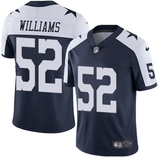 Nike Cowboys #52 Connor Williams Navy Blue Thanksgiving Men's Stitched NFL Vapor Untouchable Limited Throwback Jersey