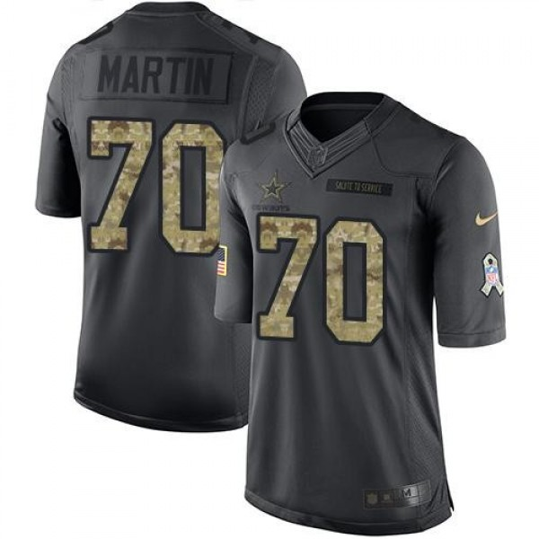 Nike Cowboys #70 Zack Martin Black Men's Stitched NFL Limited 2016 Salute To Service Jersey