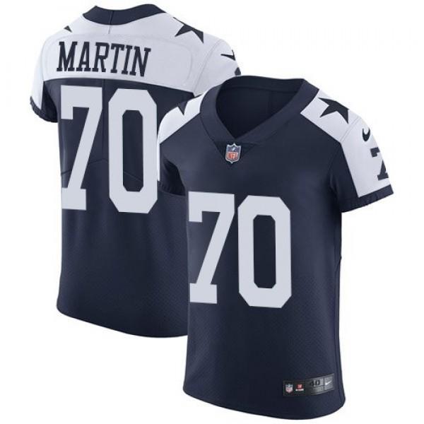 Nike Cowboys #70 Zack Martin Navy Blue Thanksgiving Men's Stitched NFL Vapor Untouchable Throwback Elite Jersey