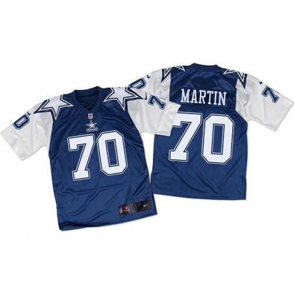 Nike Cowboys #70 Zack Martin Navy Blue/White Throwback Men's Stitched NFL Elite Jersey