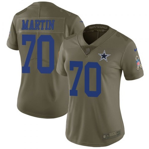 Women's Cowboys #70 Zack Martin Olive Stitched NFL Limited 2017 Salute to Service Jersey
