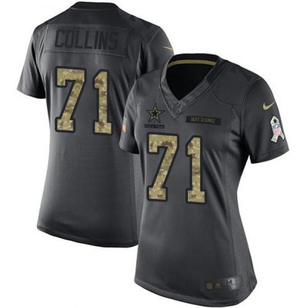 Women's Cowboys #71 La'el Collins Black Stitched NFL Limited 2016 Salute to Service Jersey