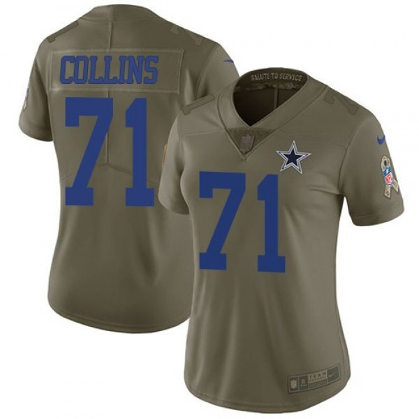 Women's Cowboys #71 La'el Collins Olive Stitched NFL Limited 2017 Salute to Service Jersey