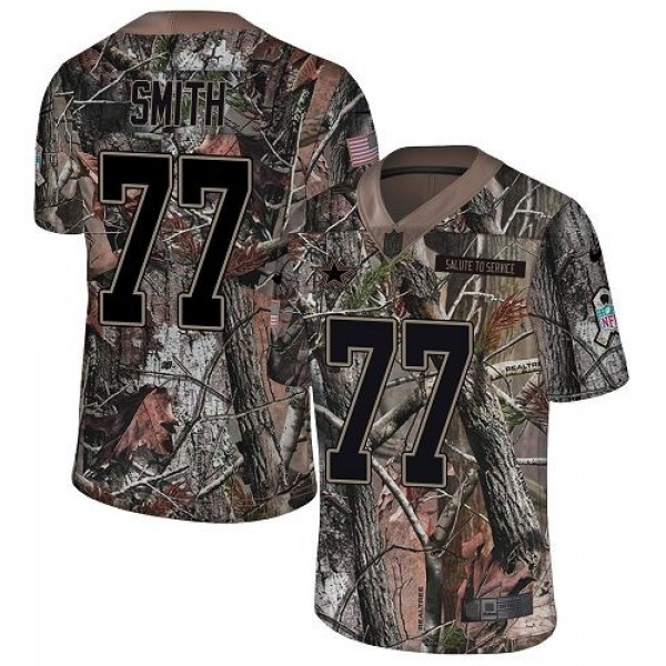 Nike Cowboys #77 Tyron Smith Camo Men's Stitched NFL Limited Rush Realtree Jersey
