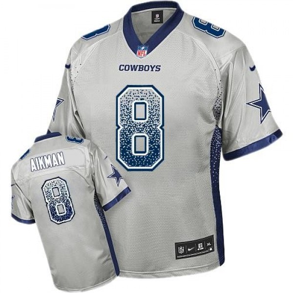Nike Cowboys #8 Troy Aikman Grey Men's Stitched NFL Elite Drift Fashion Jersey