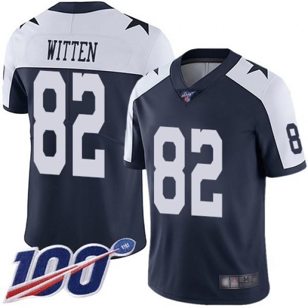Nike Cowboys #82 Jason Witten Navy Blue Thanksgiving Men's Stitched NFL 100th Season Vapor Throwback Limited Jersey
