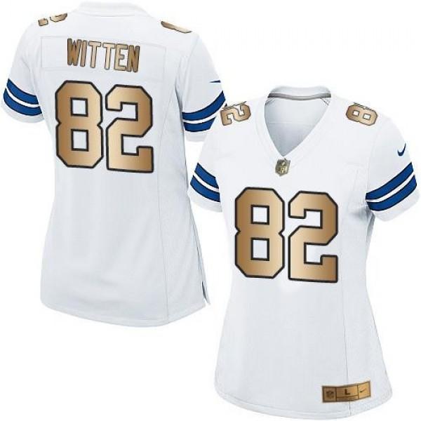 Women's Cowboys #82 Jason Witten White Stitched NFL Elite Gold Jersey
