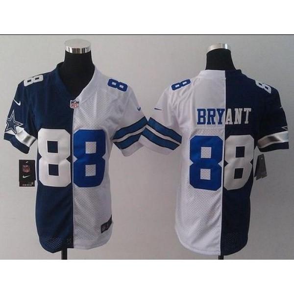 Women's Cowboys #88 Dez Bryant Navy Blue White Stitched NFL Elite Split Jersey
