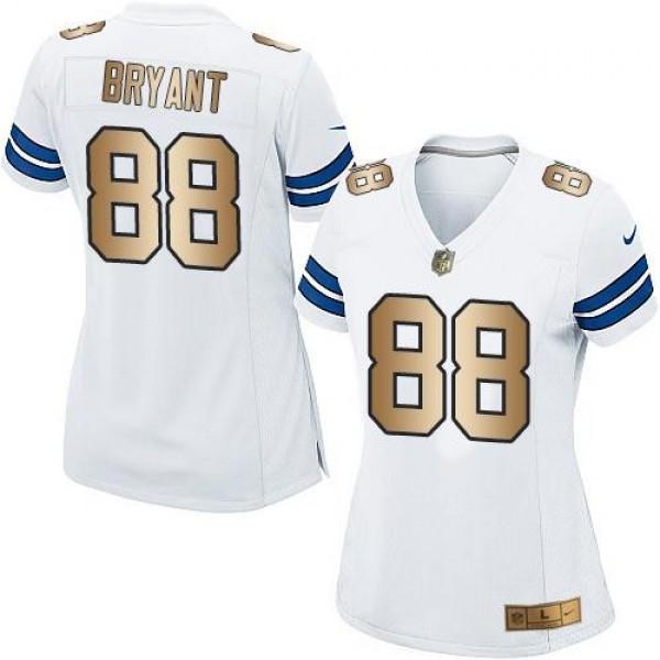 Women's Cowboys #88 Dez Bryant White Stitched NFL Elite Gold Jersey