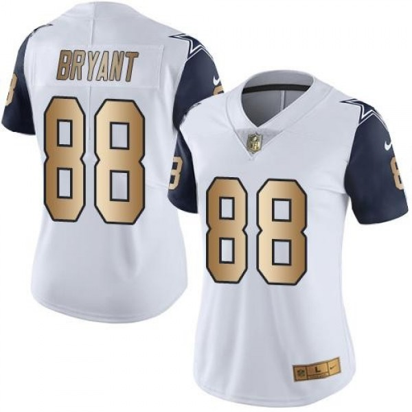 Women's Cowboys #88 Dez Bryant White Stitched NFL Limited Gold Rush Jersey