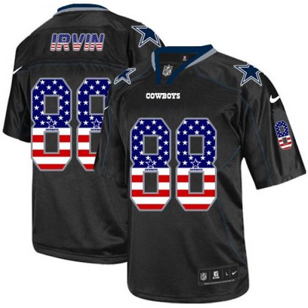 Nike Cowboys #88 Michael Irvin Black Men's Stitched NFL Elite USA Flag Fashion Jersey