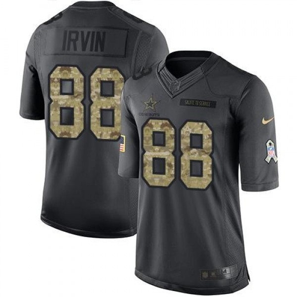 Nike Cowboys #88 Michael Irvin Black Men's Stitched NFL Limited 2016 Salute To Service Jersey