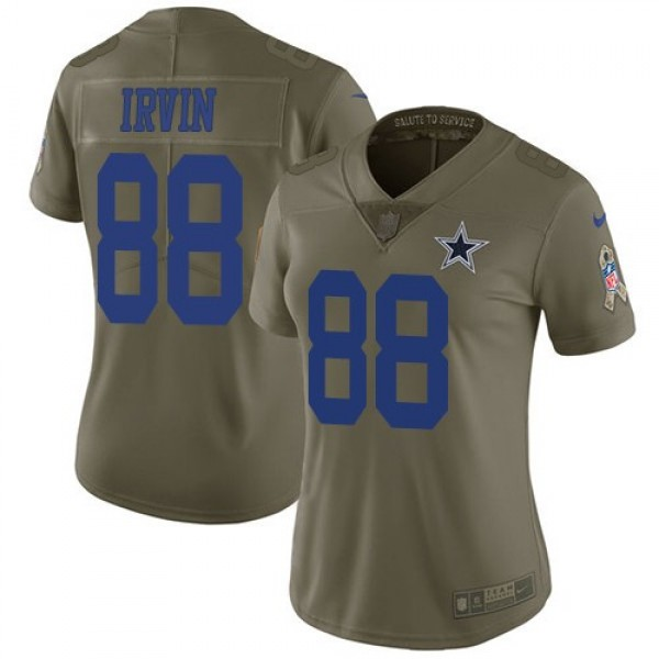 Women's Cowboys #88 Michael Irvin Olive Stitched NFL Limited 2017 Salute to Service Jersey