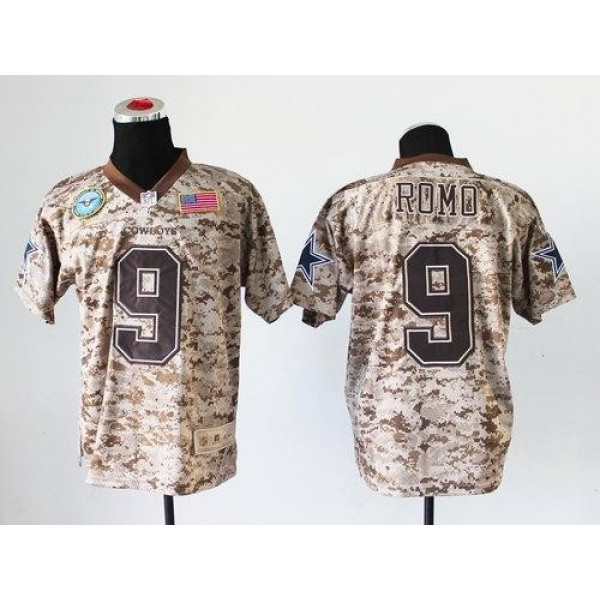Nike Cowboys #9 Tony Romo Camo Men's Stitched NFL New Elite USMC Jersey