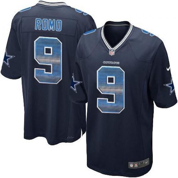 Nike Cowboys #9 Tony Romo Navy Blue Team Color Men's Stitched NFL Limited Strobe Jersey