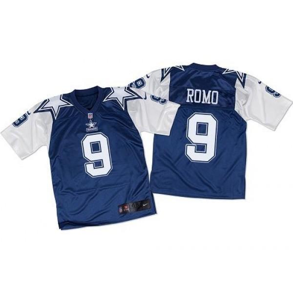 Nike Cowboys #9 Tony Romo Navy Blue/White Throwback Men's Stitched NFL Elite Jersey
