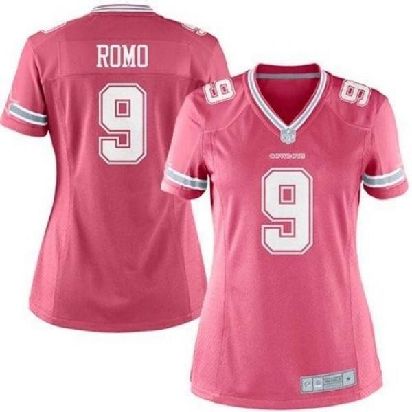 Women's Cowboys #9 Tony Romo Pink Stitched NFL Elite Jersey