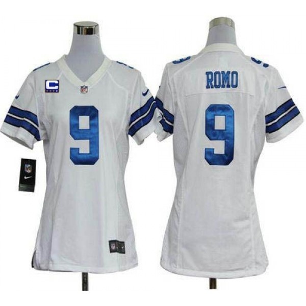 Women's Cowboys #9 Tony Romo White With C Patch Stitched NFL Elite Jersey