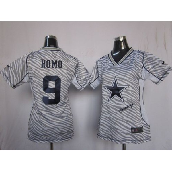 Women's Cowboys #9 Tony Romo Zebra Stitched NFL Elite Jersey