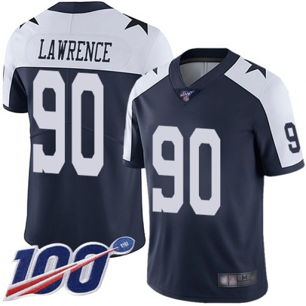 Nike Cowboys #90 Demarcus Lawrence Navy Blue Thanksgiving Men's Stitched NFL 100th Season Vapor Throwback Limited Jersey