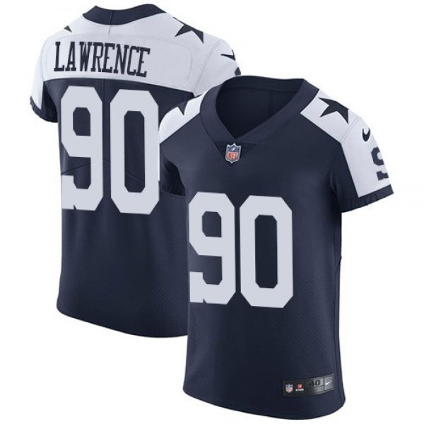 Nike Cowboys #90 Demarcus Lawrence Navy Blue Thanksgiving Men's Stitched NFL Vapor Untouchable Throwback Elite Jersey