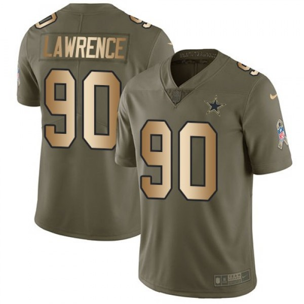 Nike Cowboys #90 Demarcus Lawrence Olive/Gold Men's Stitched NFL Limited 2017 Salute To Service Jersey