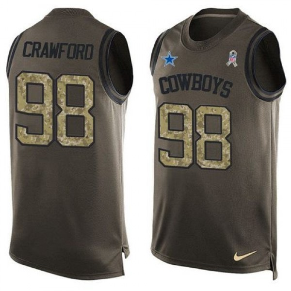Nike Cowboys #98 Tyrone Crawford Green Men's Stitched NFL Limited Salute To Service Tank Top Jersey