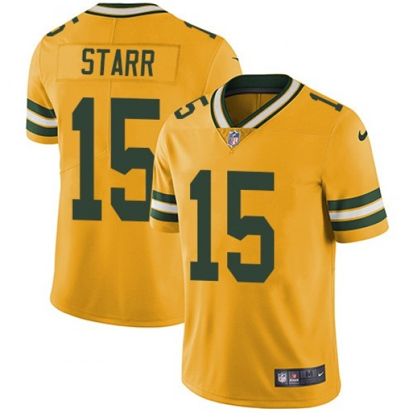 Nike Packers #15 Bart Starr Yellow Men's Stitched NFL Limited Rush Jersey