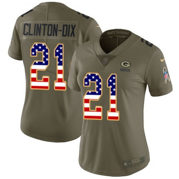 Women's Packers #21 Ha Ha Clinton-Dix Olive USA Flag Stitched NFL Limited 2017 Salute to Service Jersey