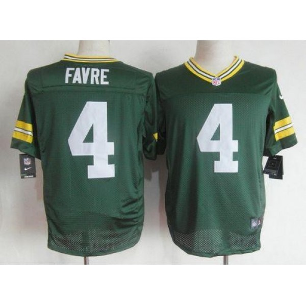 Nike Packers #4 Brett Favre Green Team Color Men's Stitched NFL Elite Jersey