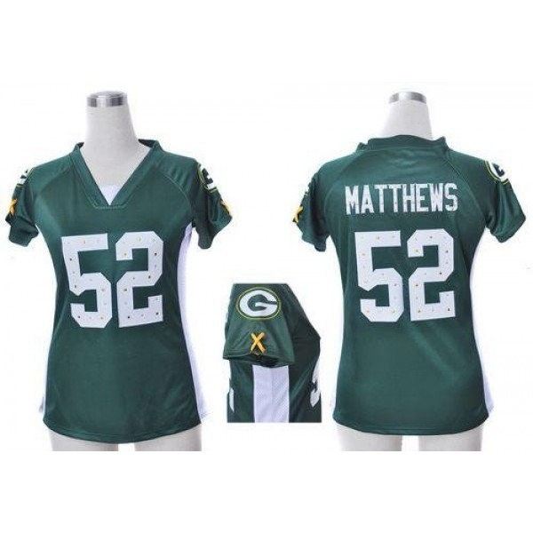 Women's Packers #52 Clay Matthews Green Team Color Draft Him Name Number Top Stitched NFL Elite Jersey